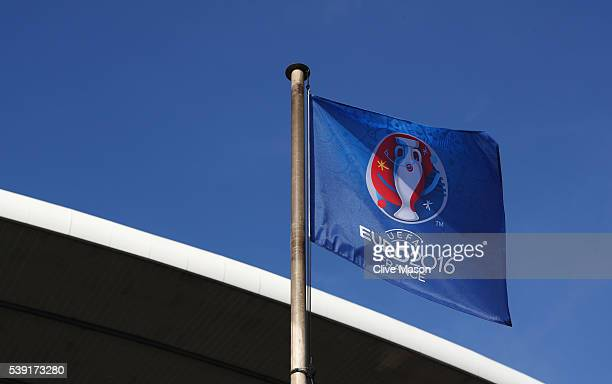 The Euro 2016 flag waves at the stadium ahead of the UEFA Euro 2016 at Stade de France on June 9 2016 in Paris France The opening match of the...