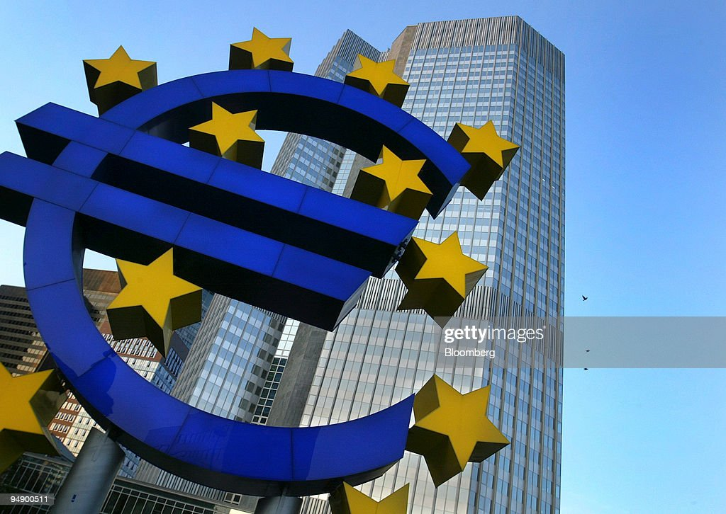 The Euro Currency Symbol Seen Outside The European Central B