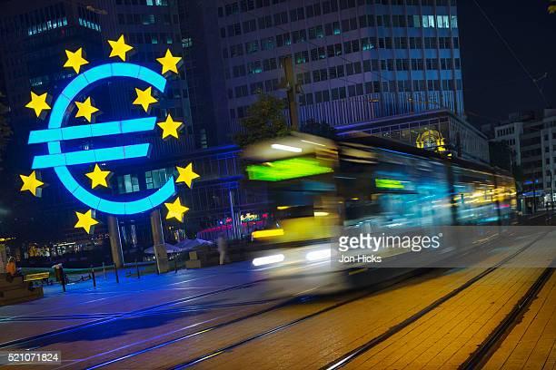 The euro sculpture at the European Central Bank.
