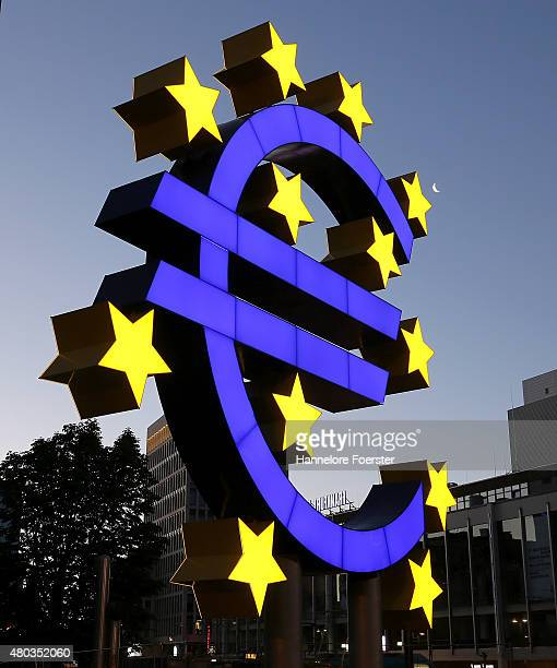 The Euro sculpture built in 2001 is seen after it's restoration complete with LED lights and new panels in blue and yellow on July 11 2015 in...