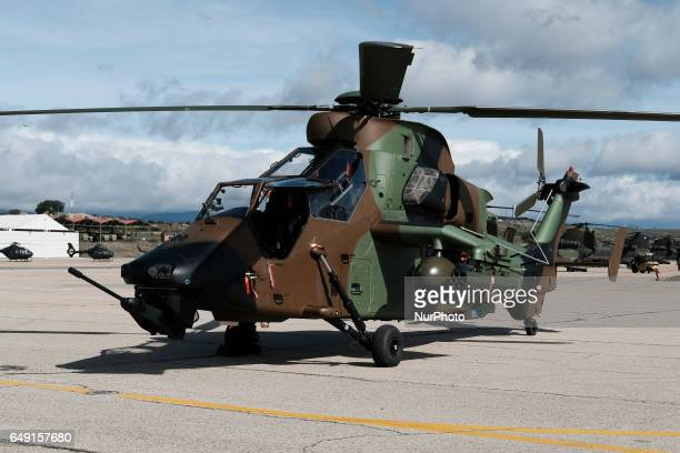 The Eurocopter EC665 Tiger is an attack helicopter in the FAMET Military Base on March 6 2017 in Colmenar Viejo Spain