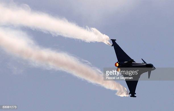 The Eurofighter Typhoon military jet flies during a demonstration at the 46th Paris Air Show June 13 2005 in the Paris suburb of Le Bourget France...