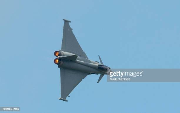 The Eurofighter Typhoon performs at the Festival of Flight at Biggin Hill Airport on August 20 on August 20 2017 in Biggin Hill England
