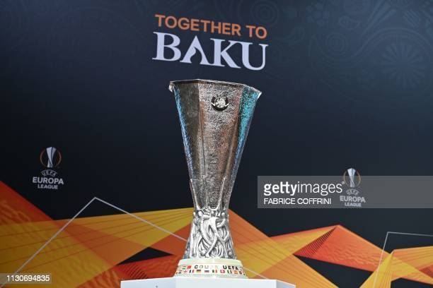 The Europa League trophy is displayed ahead of the competition's quarterfinals draw on March 15 2019 in Nyon