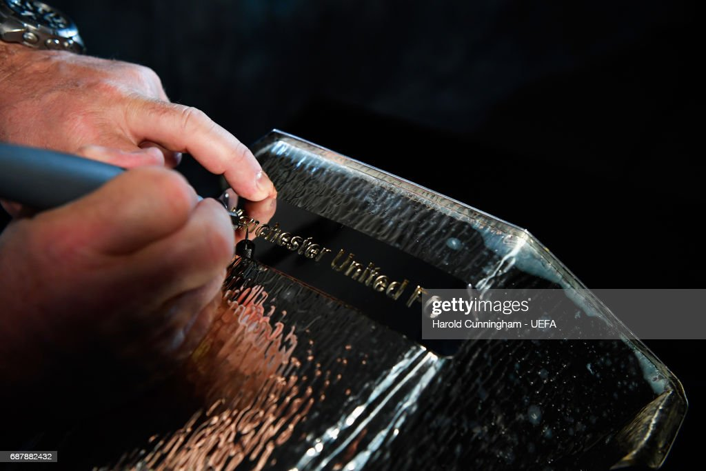 The Europa League trophy is engraved with the name Manchester United after their 2-0 win in the UEFA Europa League Final between Ajax and Manchester United at Friends Arena on May 24, 2017 in Stockholm, Sweden.