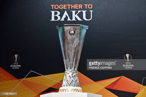 The Europa League trophy is exhibited ahead of the draw for the round of sixteen of the football competition on February 22 2019 in Nyon