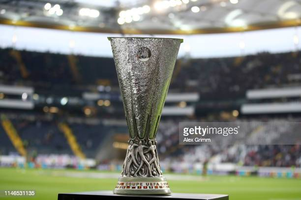 The Europa League trophy on display prior to the UEFA Europa League Semi Final First Leg match between Eintracht Frankfurt and Chelsea at...
