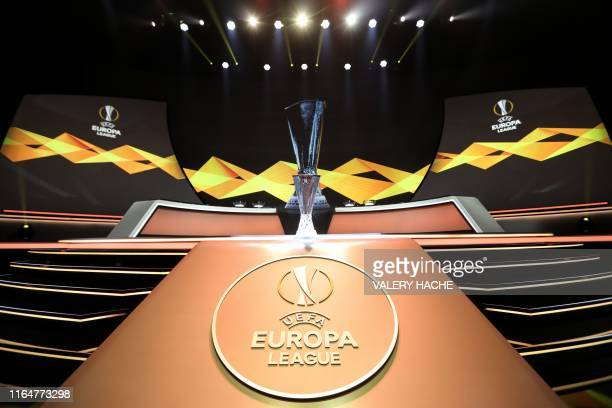 The Europa League Trophy stands on display during the UEFA Europa Cup football group stage draw ceremony in Monaco on August 30 2019