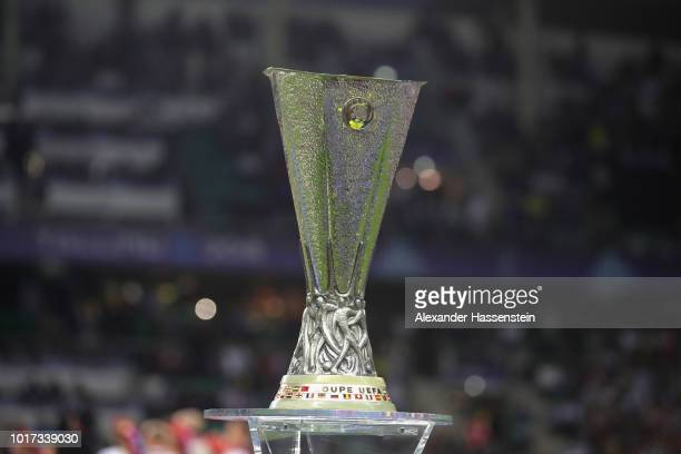 The Europa League Winners Trophy is displayed prior to the UEFA Super Cup between Real Madrid and Atletico Madrid at Lillekula Stadium on August 15...