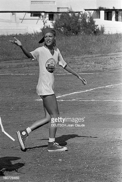The Europe 1 Olympics 1978 On The Island Of Hydra En Grèce sur l'île d'Hydra lors des Olympiades EUROPE 1 de 1978 portrait de la chanteuse JOELLE du...