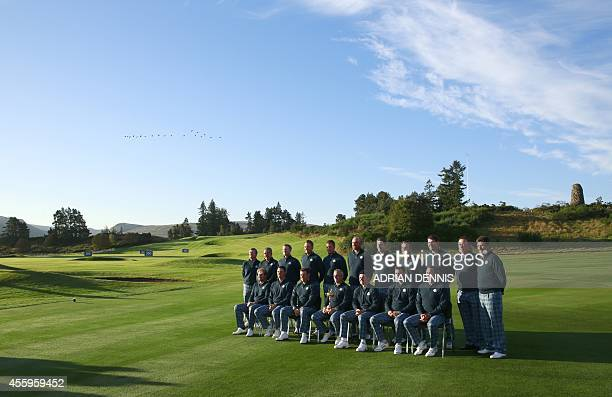 The Europe Ryder Cup golf team pose for pictures at the Gleneagles golf course in Gleneagles Scotland on September 23 ahead of the 2014 Ryder Cup...