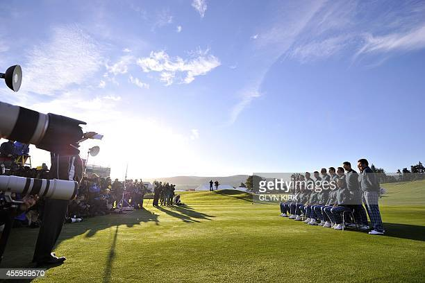 The Europe Ryder Cup golf team pose for pictures at the Gleneagles golf course in Gleneagles, Scotland, on September 23 ahead of the 2014 Ryder Cup...
