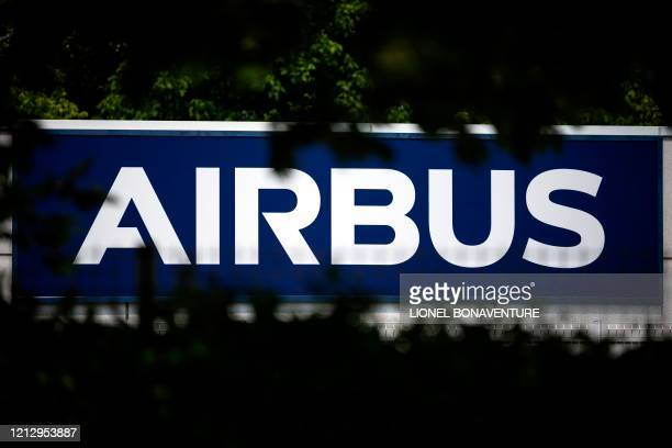 The European aircraft manufacturer Airbus' logo is pictured on May 13, 2020 in Toulouse, southern France.