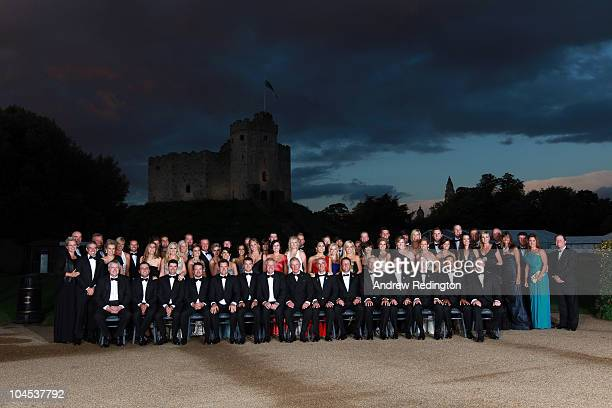 The European and United States Ryder Cup teams and their wives and partners pose for an official photograph with HRH Prince Charles, The Prince of...