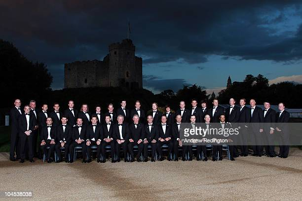 The European and United States Ryder Cup teams pose for an official photographer with HRH Prince Charles, The Prince of Wales before the 2010 Ryder...
