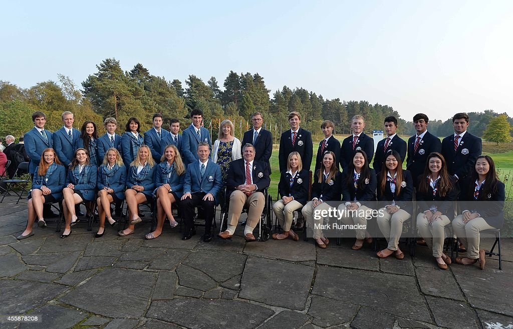 The European and USA teams pose for a photograph during the Opening Ceremony of the 2014 Junior Ryder Cup at Blairgowrie Golf Club on September 21, 2014 in Perth, Scotland.