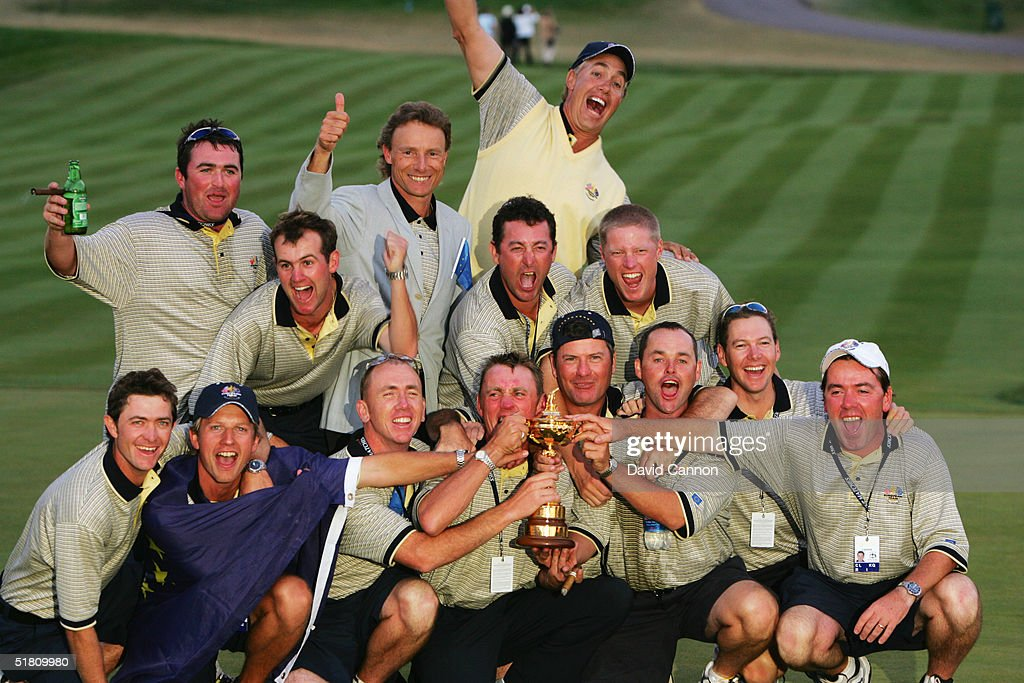 The European caddies celebrate victory with Bernhard Langer during the Closing Ceremonies at the 35th Ryder Cup Matches at the Oakland Hills Country Club on September, 19 2004 in Bloomfield Township, Michigan.