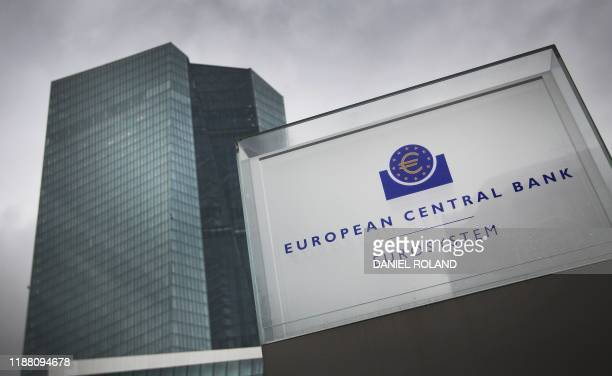 The European Central Bank, ECB is pictured prior a meeting of the governing council of the ECB in Frankfurt am Main, western Germany, on December 12,...