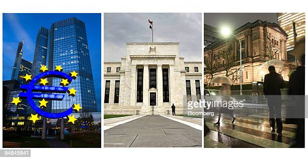 The European Central Bank in Frankfurt, Germany, on Aug. 7 left, The Federal Reserve in Washington, D.C., U.S., on Sept. 16 center, and the Bank of...