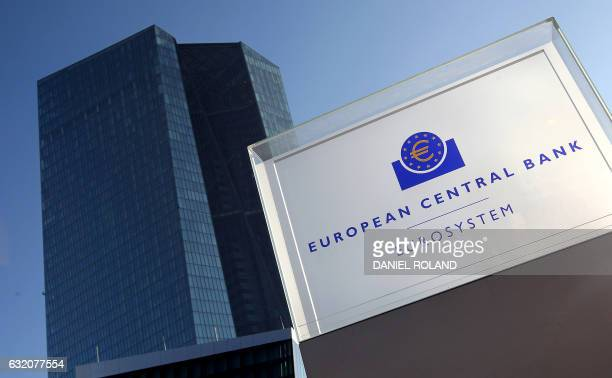 The European Central Bank is pictured prior to the press conference following the meeting of the Governing Council in Frankfurt/Main on January 19...
