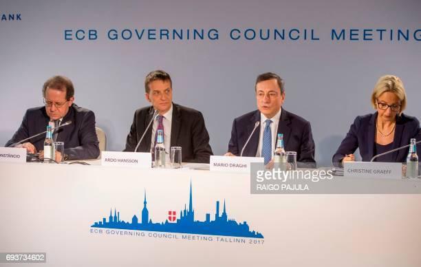 The European Central Bank VicePresident Vitor Constancio the Governor of Bank of Estonia Ardo Hansson the President of the European Central Bank...
