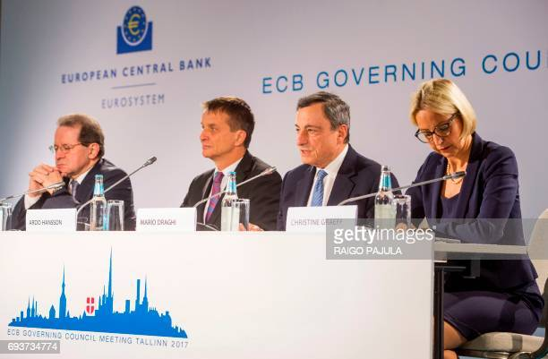 The European Central Bank VicePresident Vitor Constancio the Governor of Bank of Estonia Ardo Hansson the President of the European Central Bank...