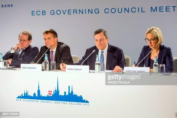 The European Central Bank Vice-President Vitor Constancio, the Governor of Bank of Estonia Ardo Hansson, the President of the European Central Bank...
