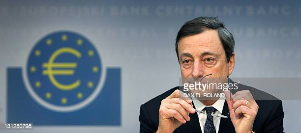The European Central Bank's new chief Mario Draghi gives his first press conference at the ECB in Frankfurt/M western Germany on November 3 2011 The...