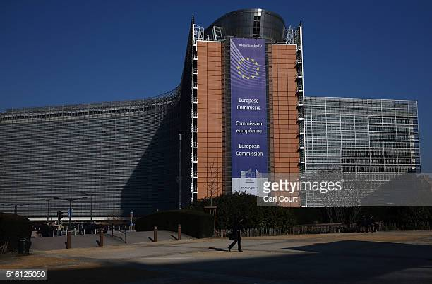 The European Commission headquarters building is pictured ahead of the EUTurkey Summit which starts today on March 17 2016 in Brussels Belgium EU...