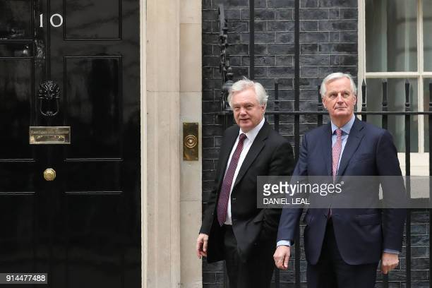 The European Commission's Chief Negotiator for the UK exiting the European Union Michel Barnier is welcomed by the Secretary of State for Exiting the...
