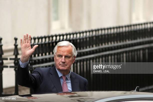 The European Commission's Chief Negotiator for the UK exiting the European Union Michel Barnier gestures on his arrival for a lunch meeting with the...