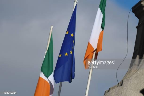 The European flag and the Irish flag seen in Dublin center On Tuesday March 26 in Dublin Ireland