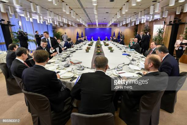 The European leaders take part in the breakfast meeting on second day of a European union summit at which 27 European leaders are to approve opening...