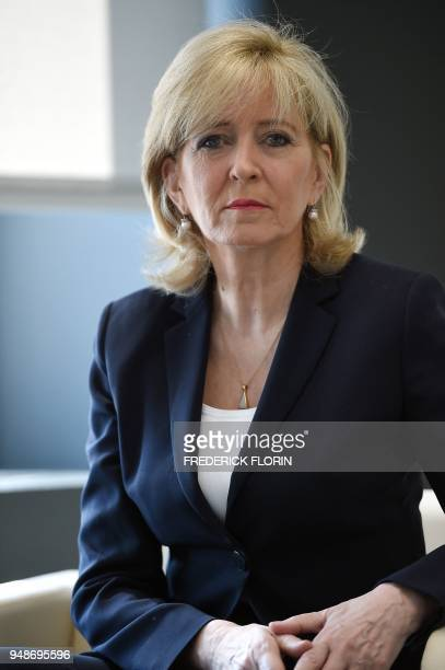 The European Ombudsman Emily OReilly from Ireland is pictured in her office on April 19 2018 in Strasbourg eastern France As the European Ombudsman...