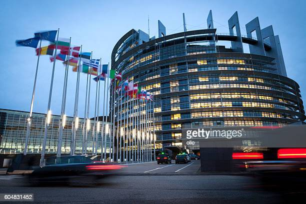 the european parliament building in strasbourg, france - european union flag stock photos and pictures