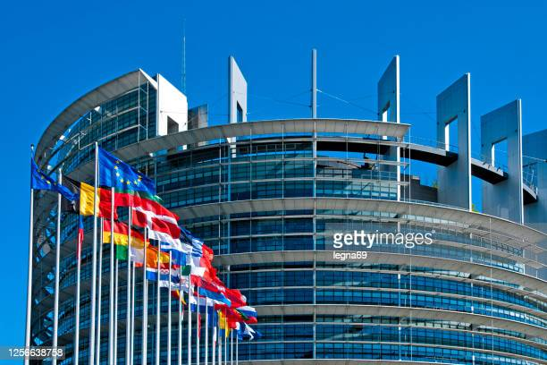 the european parliament building in strasbourg - european union stock pictures, royalty-free photos & images