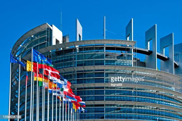het gebouw van het europees parlement in straatsburg - benelux stockfoto's en -beelden