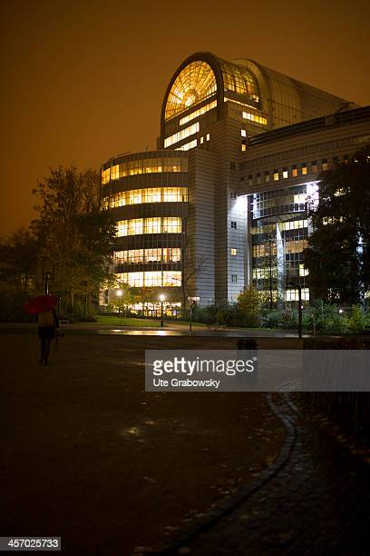 The European Parliament building pictured in the evening light on November 12 2013 in Brussels Belgium