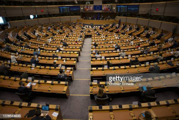 The European Parliament plenary on September 16, 2020 in Brussels, Belgium. In the wake of the Coronavirus pandemic and economic crisis, Members of...