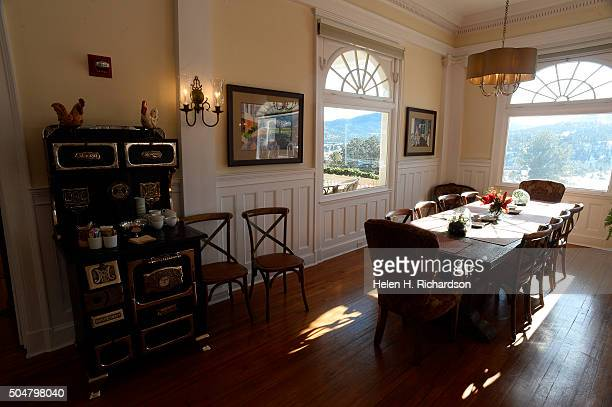 The European style breakfast room in The Lodge at The Stanley on January 12 2016 in Estes Park Colorado The Lodge is the newlyremodeled 40room...