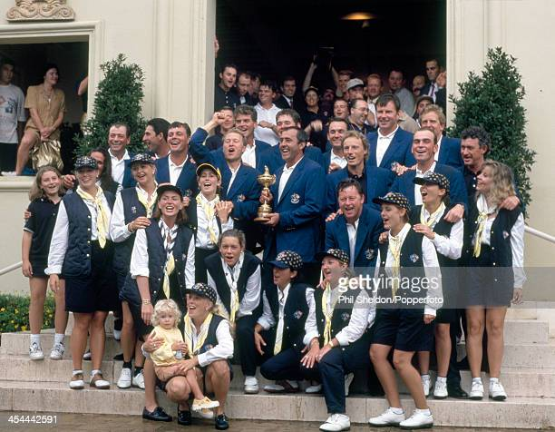 The European team and their wives with the trophy after winning the Ryder Cup golf competition held at the Valderrama Golf Club Spain 28th September...