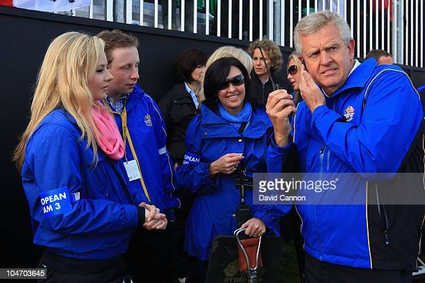 The European Team Captain Colin Montgomerie with his wife Gaynor on the first hole in the singles matches during the 2010 Ryder Cup at the Celtic...