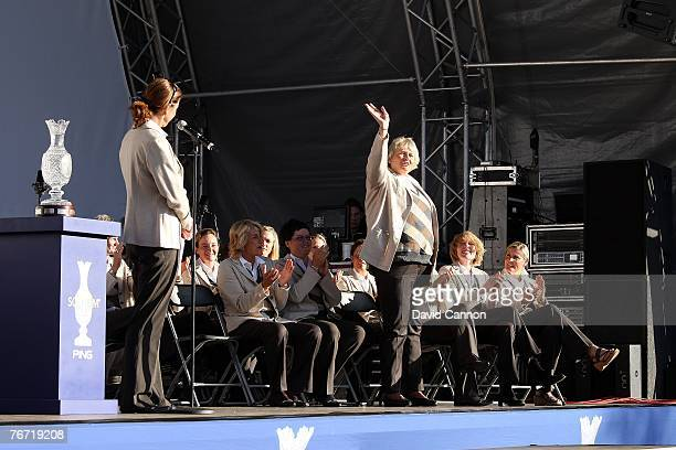 The European team captain Helen Alfredsson of Sweden introduces team member Laura Davies of England the only player who has played in all 10 Solheim...