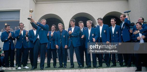 The European team with the trophy after winning the Ryder Cup golf competition held at the Valderrama Golf Club Spain 28th September 1997 The...