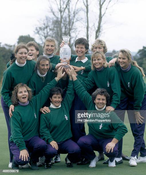 The European team with the trophy after winning the Solheim Cup golf competition held at the Dalmahoy Golf Club Scotland 4th October 1992 The...