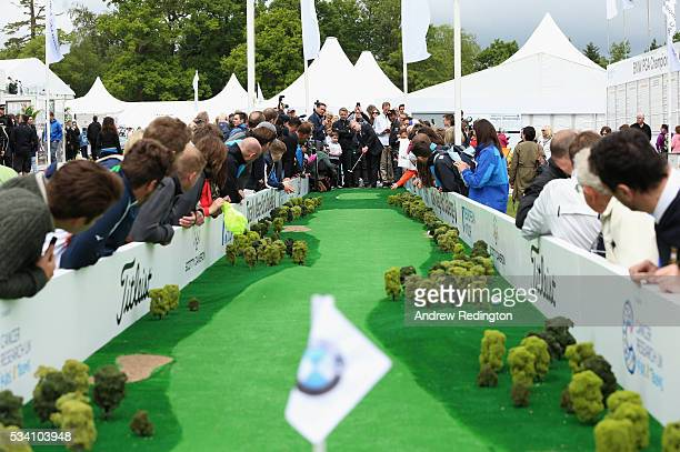 The European Tour Chief Executive Keith Pelley putts at the launch of the Totally Mega Putt Challenge initiative in the Championship Village prior to...
