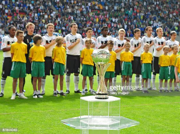 The European U17 Championship trophy and the Team of Germany Uefa U17 during the Uefa U17 European Championship Final between Netherlands and Germany...