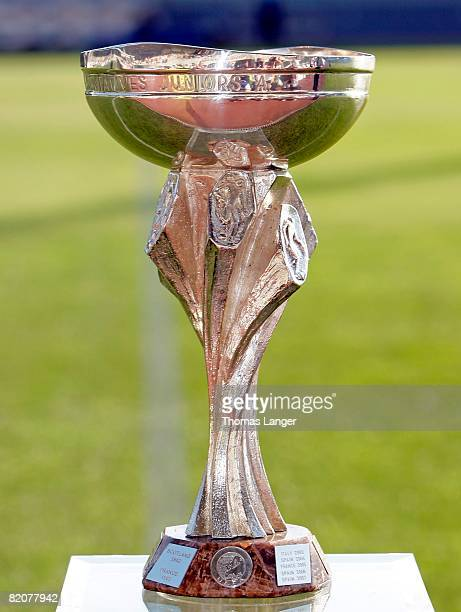 The European U19 Championship trophy is seen prior to the U19 European Championship final match between Germany and Italy at the Strelnice stadium on...
