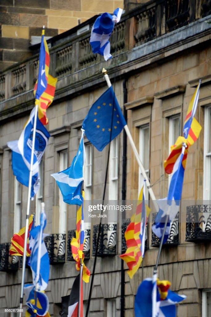 Pro-Catalonia Protest At Edinburgh Spanish Consulate : News Photo