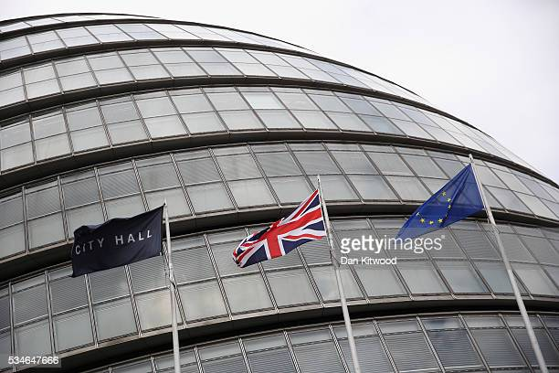 The European Union flag , the British Union flag , and the City Hall flag, fly outside City Hall, the headquarters of the Greater London Authority on...